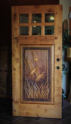 Hand carved to perfection, Great River Door Co. offers beautiful carved wood front doors for homes, lake houses & cabins. Custom Wood Doors, Wood Front Doors, Rustic Doors, Wooden Doors, Entry Doors, Knotty Pine Walls, Knotty Alder Doors, Diy Log Cabin, Log Cabins
