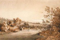Fernsicht des alten Spitals der Unheilbaren. Gemälde von Carl August Lebschée, 1869. Die Röhrenbrücke war eine einfache Pfahljochbrücke aus Holz, über die Wasserröhren verlegt waren, durch die die Münchner Residenz mit Quellwasser von der anderen Isarseite aus versorgt wurde. Die Brücke führte vom rechten Ufer der Isar bei Haidhausen, wo das Brunnhaus in Brunnthal lag, über die Kleine Isar zur Praterinsel, lag also etwas südlich von der heutigen äußeren Maximiliansbrücke (Wikipedia).