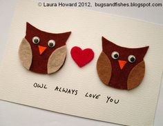 """Bugs and Fishes by Lupin: DIY """"Owl Always Love You"""" Valentine's Day Card"""