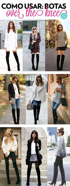 The best way to design within the knee footwear, over the knee boots outfit inspiring ideas, fall fashion, winter period design and style. Over the knee boot outfits Black Boots Outfit, Winter Boots Outfits, Fall Outfits, Cute Outfits, Fashion Outfits, Womens Fashion, Boot Outfits, Winter Dresses With Boots, Petite Fashion