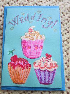 A Wedding card, sweet cupcakes