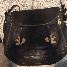 Petal to the metal Marc Jacobs Sasha bag Perfect condition except for tiny repair in back as seen in last pic it's the Sasha so bigger bag in a dark green black color love this!!! Hard ware in perfect condition leather perfect condition Marc Jacobs Bags Crossbody Bags