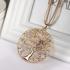 Owl Pendant Necklace Jewelry Women Fashion 2017 Silver Rose Gold plated Chain Czech Crystal Long Necklaces & Pendants XL07233