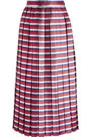 GucciPleated striped silk-blend lamé midi skirt