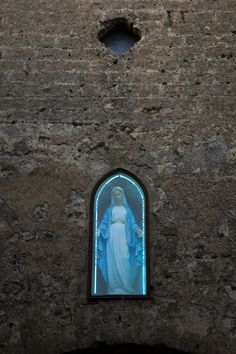 A neon lit street shrine for Mary in Erice Sicily Blessed Mother Mary, Blessed Virgin Mary, Catholic Art, Roman Catholic, Religious Icons, Religious Art, Madonna, Take Me To Church, Queen Of Heaven