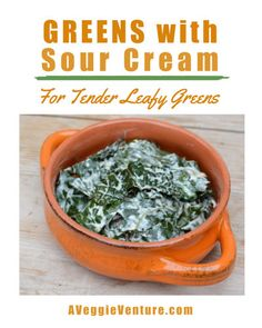 Greens with Sour Cream, another simple, sumptuous vegetable ♥ AVeggieVenture.com. Low Carb. Weeknight Easy, Weekend Special. Creamed Spinach, Spinach And Feta, Free Recipes, Easy Recipes, Easy Meals, Green Tomato Pie, Turnip Greens, Vegan Mayonnaise, Eat Seasonal
