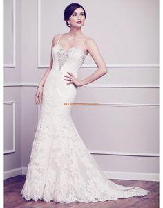 Kenneth Winston Meerjungfrau Schöne Brautkleider aus Softnetz mit Applikation