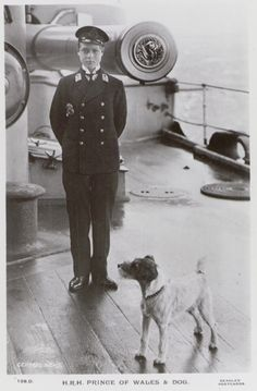HRH Edward Prince of Wales, and a terrier on board HMS 'Hindustan' about Reproduction ID: Maker: Unknown Date: about 1911 Jack Russell Dogs, Jack Russell Terrier, Eduardo Viii, Smooth Fox Terriers, Wire Fox Terrier, Vintage Dog, Prince Of Wales, Little Dogs, Our Lady