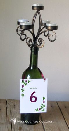Wine Bottle Centerpieces | Wine Bottle Centerpiece with 4×6 Sign and Wine Bottle Candelabra