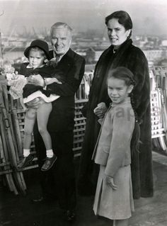 Charlie Chaplin, wife Oona and their children Geraldine and Josephine.