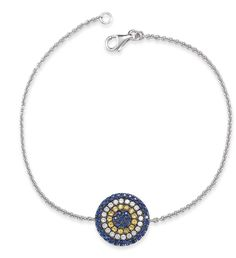 CARLY MICHELLE STYLE #: B144 | 600.00 USD This bracelet features a 14k White Gold Chain with 0.20. Carats of Diamonds and 0.65. Carats of Blue and Yellow Sapphires set in 14k Black Rhodium with a Solid back plate for engraving.