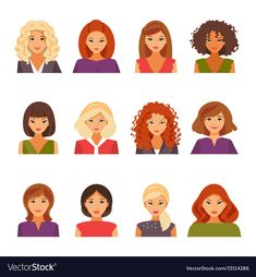 Collection of female avatars with different types of appearance. Hairstyles of women. Vector illustration. Download a Free Preview or High Quality Adobe Illustrator Ai, EPS, PDF and High Resolution JPEG versions.