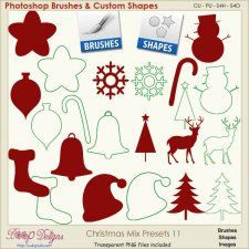 Christmas Brush & Shape PRESETS 11  #CUdigitals cudigitals.comcu commercialdigitalscrapscrapbookgraphics #digiscrap