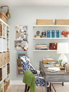 A rustic metal desk and ornate patterned chair make unique pair in this pretty home office. See smart storage solutions using baskets: http://www.bhg.com/decorating/storage/organization-basics/storage-solutions-using-baskets/?socsrc=bhgpin022413metaldesk=3