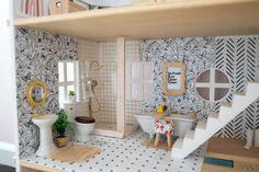 Doll House Flooring, House Tiles, Wooden Dollhouse, Dollhouse Furniture, Dollhouse Ideas, Doll Furniture, Diy Dollhouse Miniatures, Wooden Dolls, Doll House Wallpaper