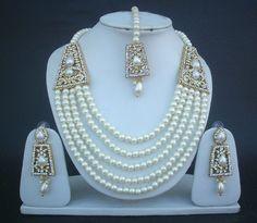 Royal Mughal's Style Rani Haar Jewelry Set Kundan Pearl Necklace Earrings Tikka in Necklaces & Sets | eBay