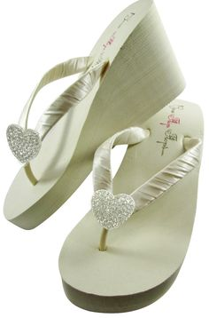 High Ivory Wedge Heart Wedding Flip Flops Wedges -White Low Heel/ Choose your Options