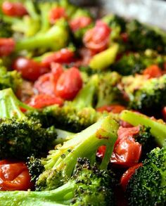 Roasted Broccoli and Tomatoes Recipe #vegetarian Just made this and it was AWESOME!