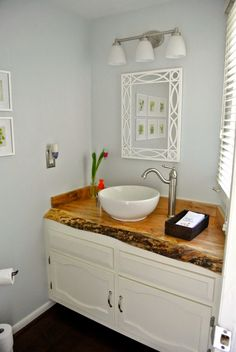 Contemporary Bathroom Countertops live edge reclaimed wood countertop bathroom vanity powder room