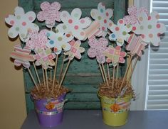 Idea:  Spring Flower Bucket. easy center piece for ward breakfast.  Call in the YW to help?