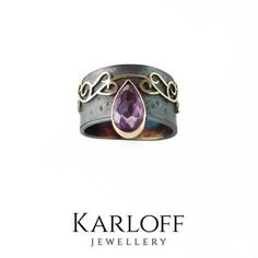 SILVER & GOLD RING With AMETHYST - product image