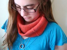 Infinity Scarf PERSIMMON Cashmere Upcycled Cowl by WormeWoole.com
