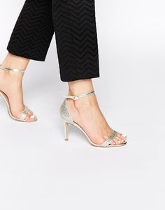 Image 1 ofNew Look Sensatory 4 Gold Glitter Heeled Barely There Sandals
