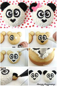 Learn how to make adorable Panda Bear Cakes using white and black icing and modeling chocolate (candy clay or fondant) decorations. Panda Bear Cake, Bear Cakes, Monkey Cakes, Panda Bears, Panda Cupcakes, Fun Cupcakes, Cake Decorating For Beginners, Cake Decorating Tips, Fondant Cakes