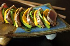 Simple beautiful light & delicious -- the perfect summer Seared Ahi Mango-Avocado. Seafood Recipes, Appetizer Recipes, Appetizers, Cooking Avocado, Seared Ahi, Tuna Avocado, Healthy Recipes, Healthy Meals, Healthy Food