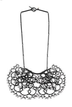 Pearl Steel Lace Necklace by Sarah Holden