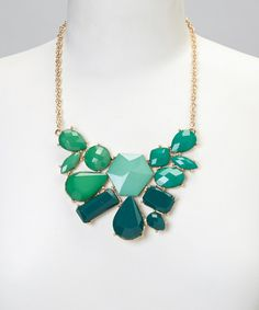 Take a look at this Stephan & Co. Green Ombre Geometric Bib Necklace on zulily today!