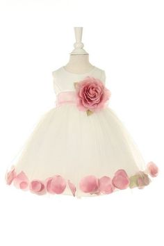 Beautiful baby girl flower dress - Ivory/Dusty Rose