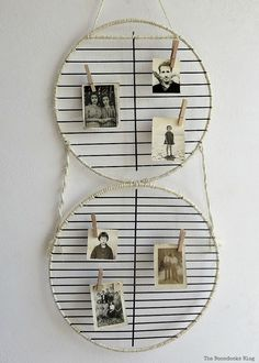 Barbecue grill rack repurposed into a photo display for Father's Day, Wrapping it Up for Father's Day theboondocksblog.com