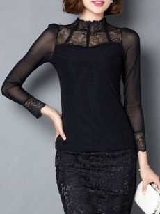 Patchwork Sexy Band Collar Long Sleeve T-shirts
