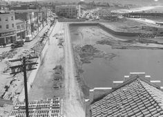 The beginning of the end for old Redondo. The marina expansion, zoning change to allow large apartment complexes destroyed Redondo's charm and some great homes and landmarks along the Esplanade. Redondo Beach Pier, Redondo Beach California, California History, Southern California, Bay Photo, San Luis Obispo County, Old Photos, Vintage Photos, Beaches