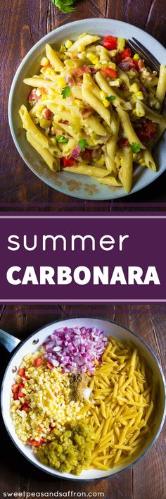 One Pan Summer Carbonara with Corn & Chiles, a delicious dinner recipe ready in 30 minutes!