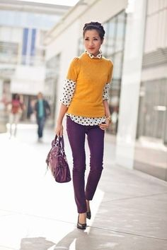Women's Mustard Short Sleeve Sweater, White and Black Polka Dot Chiffon Dress Shirt, Dark Purple Skinny Jeans, Dark Purple Leather Pumps