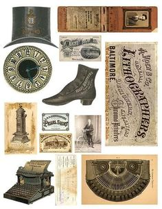 """Here is a free collage sheet of vintage graphics including a clock, top hat, shoe, typewriter and vintage papers. The sheet is printable at 8.5"""" x 11"""" and is in"""