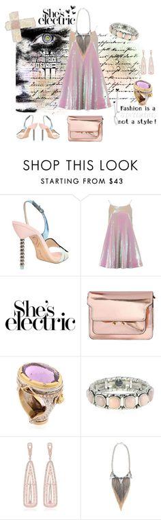 """She's electric"" by zabead ❤ liked on Polyvore featuring Sophia Webster, Marni, ALESSANDRO DARI, Philippe Audibert, Marco Ta Moko, Iosselliani, women's clothing, women, female and woman"