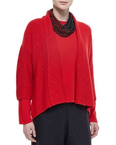 eskandar Three-Quarter-Sleeve Paillette Cardigan, Cashmere Round-Neck Sweater