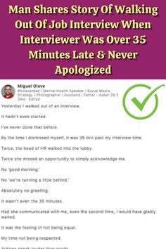 #Story #Walking #Job #Interview #Interviewer #Minutes #Apologized