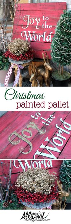 Joy to the World Christmas Painted Pallet. This painted Christmas Pallet makes a festive front porch decor for this holiday seaon. It is easy to make by painting and stencilling in gorgeous colors. Pallet Christmas, Christmas Porch, Outdoor Christmas Decorations, Christmas Signs, Christmas Projects, All Things Christmas, Holiday Crafts, Christmas Holidays, Christmas Ideas