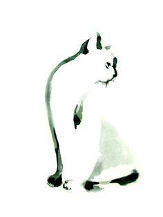 Minimalist Cat Watercolor Painting Art Print, Black and White Cat Art Kitten Modern Minimalist Wall Art