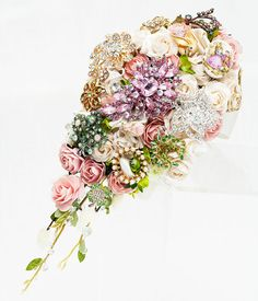 Large Brooch Bouquet - Pink Cascade