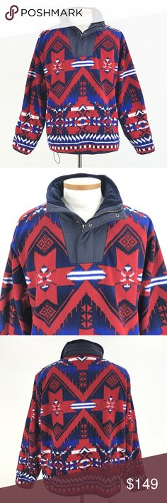 Vintage Polo Ralph Lauren Fleece Jacket Southwest Vintage Polo Ralph Lauren Men's Large Red Blue Fleece Jacket Southwest Indian Aztec  STYLE: 1/4 Sip Pullover Fleece with hide away nylon hood CONDITION: Pull string at waist broke and was sewn back together. Still usable. Otherwise in very good preowned condition with normal signs of light use. No major flaws or imperfections. No stains, holes or heavy wear. May show light signs of wash and wear. All wear is typical of a gently worn preowned…