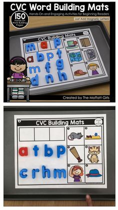 Phonics Building Mats I am so excited to share with you one of my absolute FAVORITE ways to build words with my new CVC Word Building Mats and Blends and Digraphs Mats! Spelling Activities, Preschool Learning Activities, Phonics Activities, Kindergarten Literacy, Educational Activities, Preschool Phonics, Work Activities, Teaching Reading, Teaching Kids