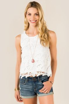 Greer All Over Crochet Tank; love these shorts!