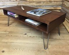 87fde4bcd85d Mid-Century Modern Walnut Coffee Table with Stainless Steel Hairpin Legs
