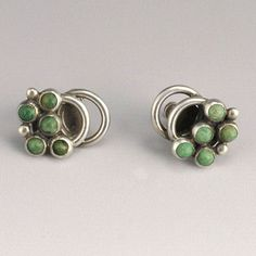 Earrings | Hector Aguilar 'Caviar'. Silver and Green Turquoise. ca. 1940s, Mexico