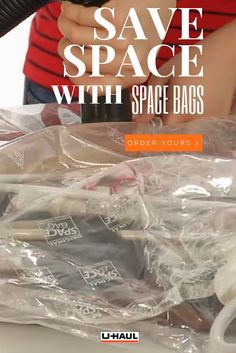Space bags are a moving,must have! They allow you to pack, move, and unpack more efficiently and the air proof and waterproof bags are reusable! Moving Boxes, Organizing Your Home, Travel Luggage, Storage Containers, Household Items, Organization Hacks, Getting Organized, Space Saving, Closet
